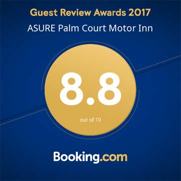 booking.com guest review award for palm court rotorua motel 2017